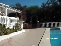Wealthy bitch housewife poolside villa sex