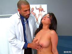Hot cumshot on the big natural tits of curvy girl Charley Chase
