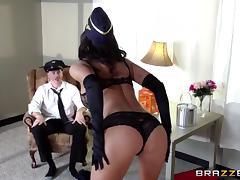 This hot flight attendant works her captains joystick
