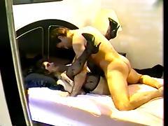Brunette slut fucked and drinks cum