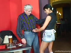 Sexy bartender chick fucks the oldest client in the place