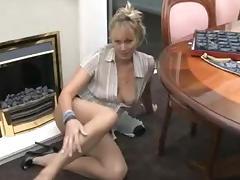 Horny mature bitch rubbing her clitoris