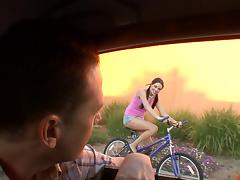 Sexy 18 y.o. chick on a bike gets picked up and screwed hard