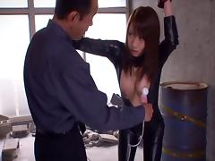 Japanese spy in a latex body suit pays the price after getting caught