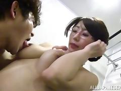 Sassy Japanese babe fucks a client hardcore in a hotel room