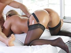 Oily milf chick with fantastic tits and a big ass gets boned