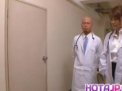 Arisa Ebihara is fucked by doctors after sucking