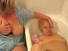 Chubby grannies and a horny guy have a kinky threesome
