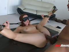 Blindfolded sub slut fucked anally by a huge black dick