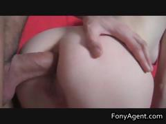 Blonde getting her pussy fucked on sofa
