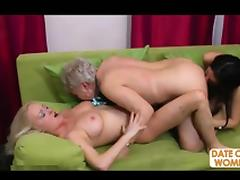 Two grannies and one young slut
