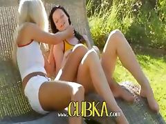 lesbians using huge dildo outside
