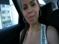 Cutie euro babe pussy banged hard for a ride