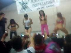 Girl flashes hairy pussy during hot body contest