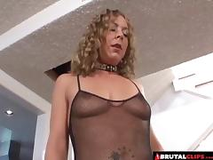 Curly experienced babe experiences the rough anal treatment