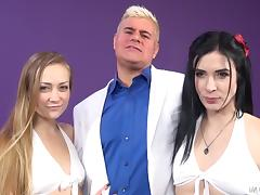 Ladies with small tits take on the chubby guy together