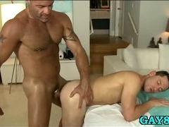 Massaging young hard dick