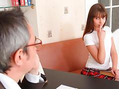 TrickyOldTeacher - Sexy sexy student in plaid sucks teachers cock and fucks for grade