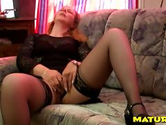 Old babe in lingerie gives a sexy blowjob and gets laid