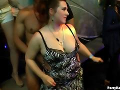 Wild European hussies teasing and sucking cocks at a sex party