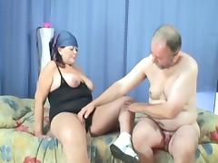 He hired the old chick to clean his house and pleasure his cock