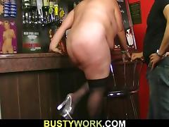 Huge boobs barmaid takes it from behind