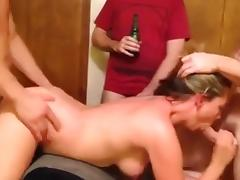 Blonde whore gangbanged and hubby watch