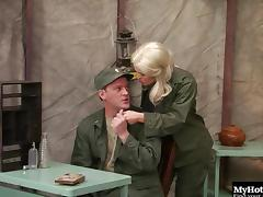 Hottest blonde in the army can't wait to have her snatch drilled hard