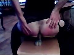 Crossdresser blowjob and ridding her dildo