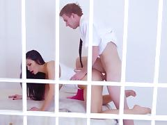 Aletta Ocean sucks and fucks heavy cock while imprisoned