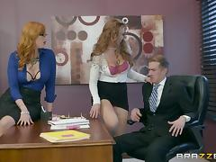 Boss gets his long dong pleased by horny secretaries