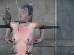 Bonnie Day's pale body gets ravished during a nasty BDSM game