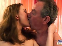Old and Young Grandpa Fucks Teen Babysitter Fingers Virgin