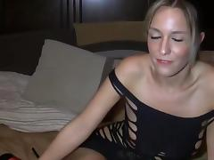 Blonde babe in high heels birthday handjob and pov fuck