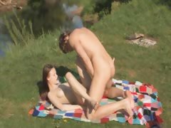 Russian teenagers outdoor bang