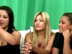 Cfnm femdoms jerk victim cock as her friends watch
