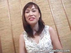 Hot mature Asian slut gets hairy pussy