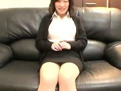 Asian mature business lady jerks a cock
