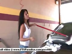 Alexa Loren gorgeous brunette slut in a car wash