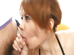 Horny Japanese cutie Moe Aizawa Sucking dicks