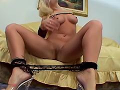 POV blonde in fishnets anal sex