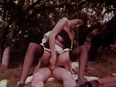 Anal Fucked Chick gets Cum in Mouth Outdoors 1970