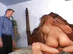Swinger wife in a rough threesome