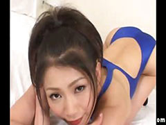 Oriental slut shows what she got in her bathing suit