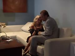 Facial Cumshot for Blonde Jessica Drake after Hot Sexy Time on the Couch