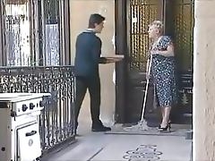 Blonde Granny Gets Fucked and Facialized by the Delivery