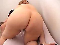 Dude Gets His Cock Sucked and Fucked By a Horny Blonde Granny