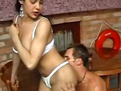 Foreplay with tranny in short skirt