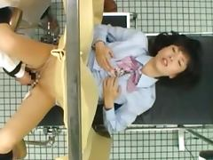 Japanese teen gets her pussy fingered at the gynecologist's