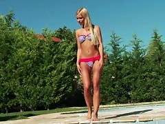 Striped bikini on sexy blonde Lola Myluv
